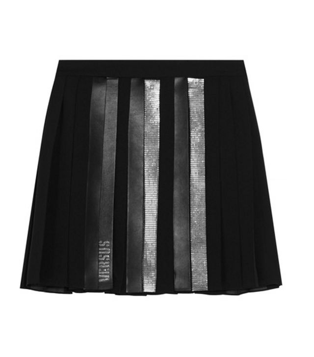 Versus Versace Faux Leather-Trimmed Embellished Pleated Chiffon Mini Skirt