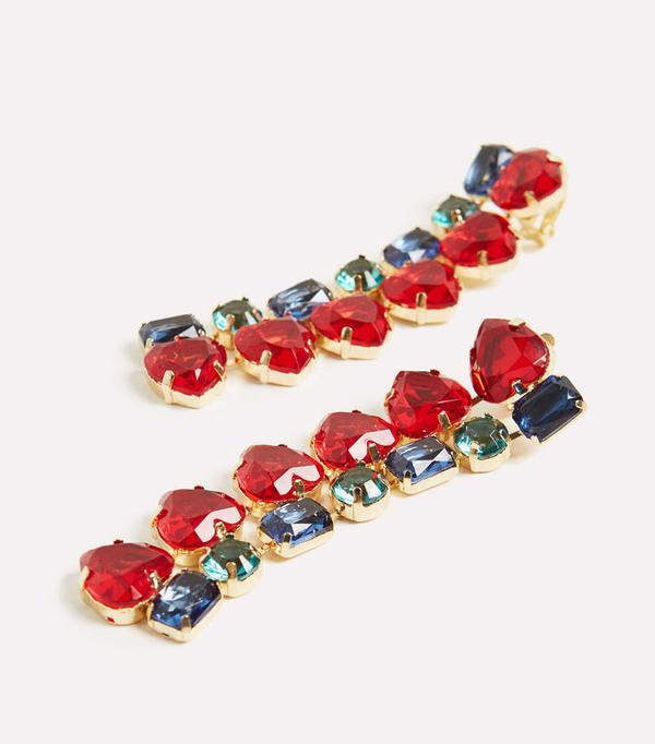 Best statement earrings: Uterque crystal earrings