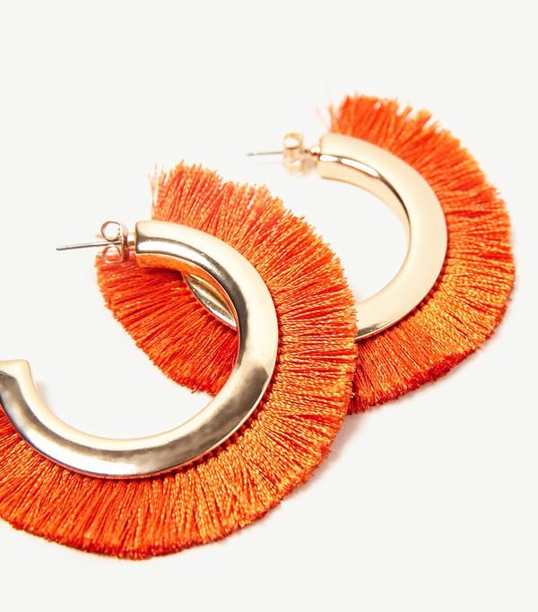 Best statement earrings: Zara fringed hoop earrings