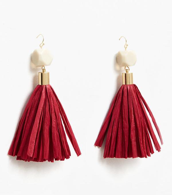 Best statement earrings: Mango red tassel earrings