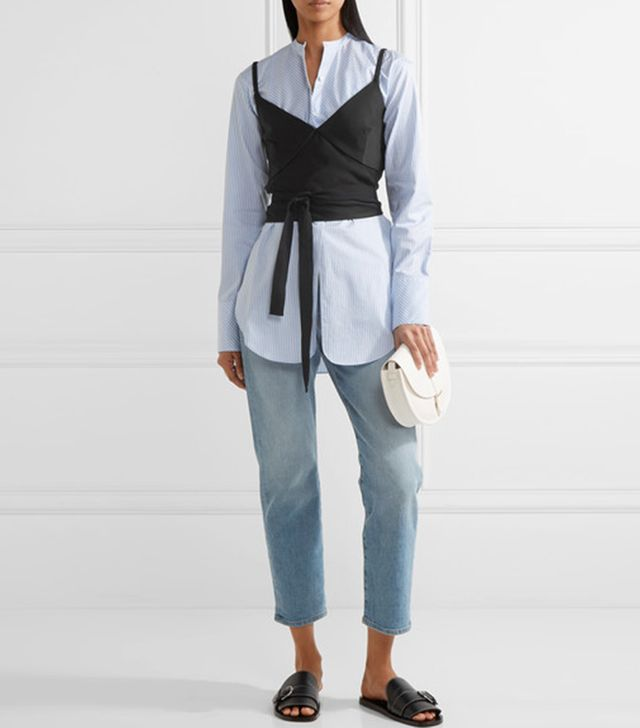 styling tricks - Bassike Wrap-Effect Twill Top