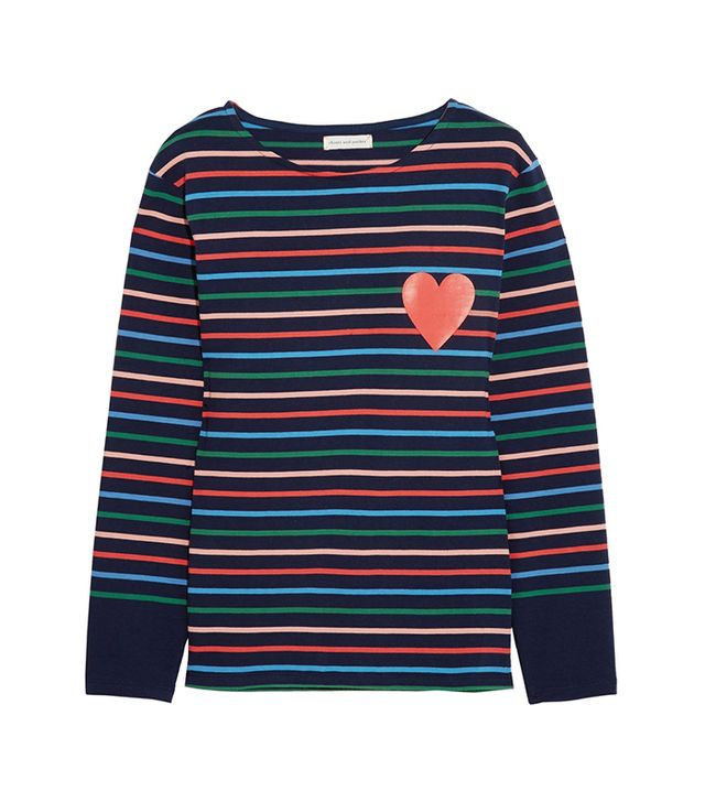 styling tricks - Chinti And Parker Printed Striped Cotton-Jersey Top