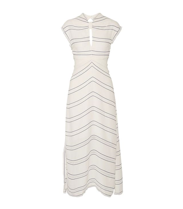 styling tricks - Provenza Schouler Tie-Back Cutout Striped Crepe Midi Dress