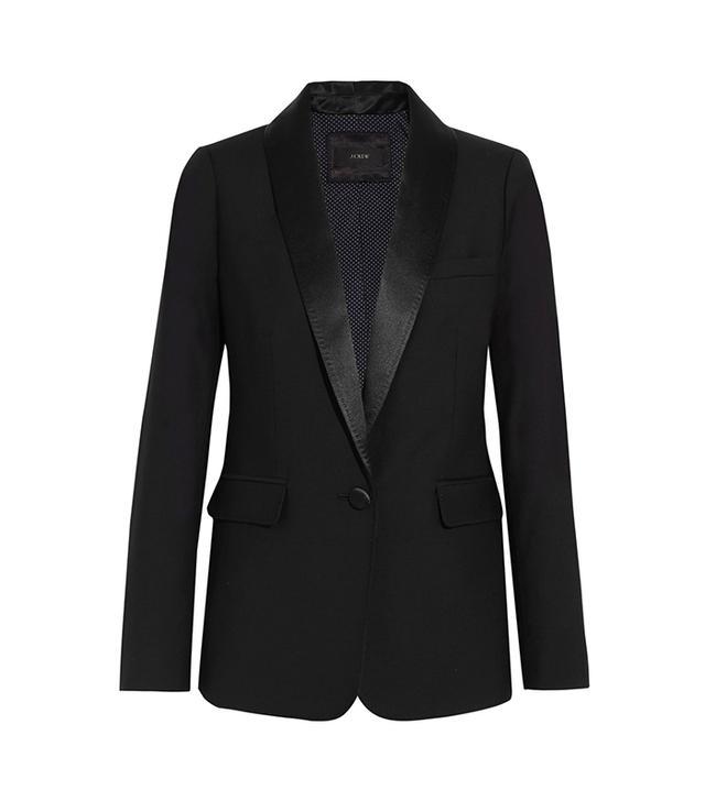 dc fashion - J. Crew Hugh Satin-Trimmed Wool Blazer