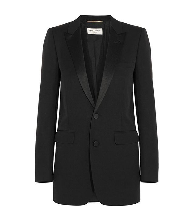 dc fashion - Saint :Laurent Satin Trimmed Wool Tuxedo Blazer