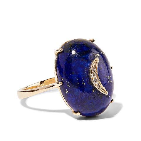 14-Karat Gold, Lapis and Diamond Ring