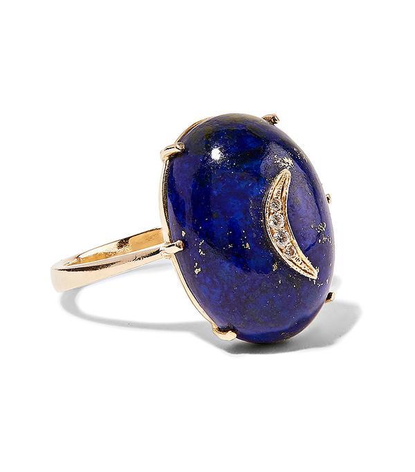 non diamond engagement rings - Andrea Fohrman 14-karat Gold, Lapis And Diamond Ring