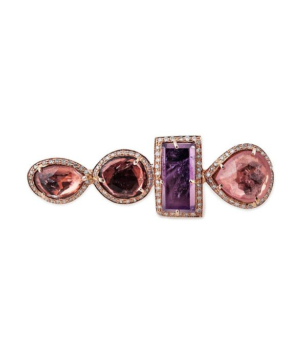 non diamond engagement rings - Jacquie Aiche 4 Freedom Pink Tourmaline Knuckle Ring