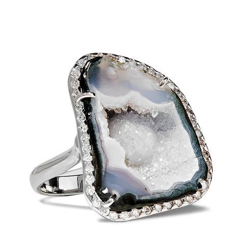 18-Karat White Gold, Geode and Diamond Ring