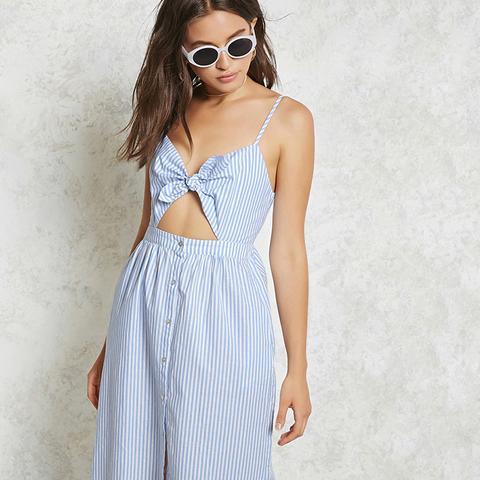 Self-Tie Striped Cami Dress