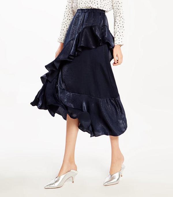 Pomelo Tatiana Ruffle Maxi Skirt