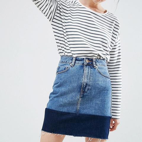 Denim Mini Skirt With Contrast Hem