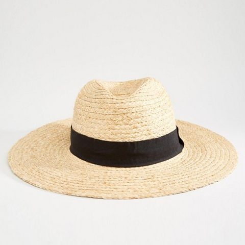 Straw Hat With Contrast Band