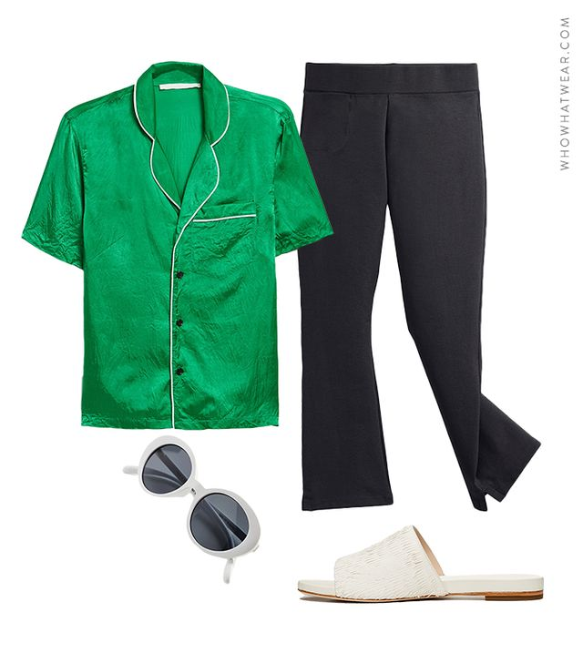 Pictured: Creatures of Comfort Hero Top in Amazon Green ($295); American Giant The Kick Flare Pant ($69); Loeffler Randall Ava Sandals ($295); Urban Outfitters Sadie Slim Oval Sunglasses ($16).