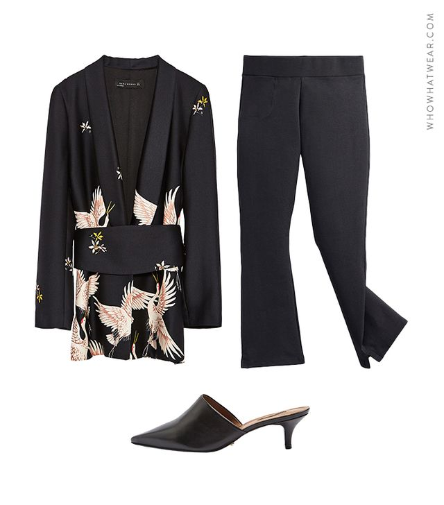 Pictured: Zara Printed Jacket with Sash Belt ($149); American Giant The Kick Flare Pant ($69); Topshop Jackson Kitten Pointed Mules ($90).