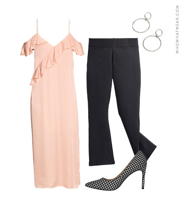 Pictured: H&M Satin Dress ($60); American Giant The Kick Flare Pant ($69); Need Supply Co. Double Circle Drop Earrings ($42); Who What Wear Ally Printed Pumps ($35).