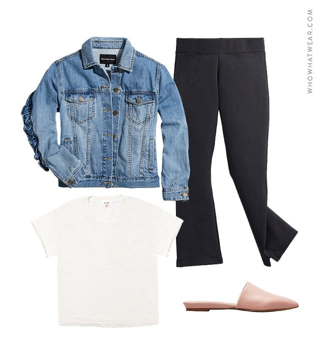 Pictured: Who What Wear Light Wash Denim Jacket ($40, also available in sizes X to 4X); American Giant The Kick Flare Pant ($69); Everlane Pointed Slides ($145); Re/Done | Hanes 1950s Boxy Tee ($78).