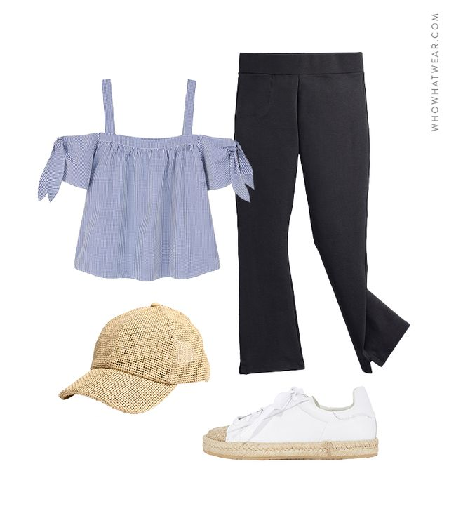 Pictured: Violeta by Mango Check Off-Shoulder Top ($60); American Giant The Kick Flare Pant ($69); Alexander Wang Rian Espadrille Sneakers ($425); Madewell Straw Baseball Cap ($32).