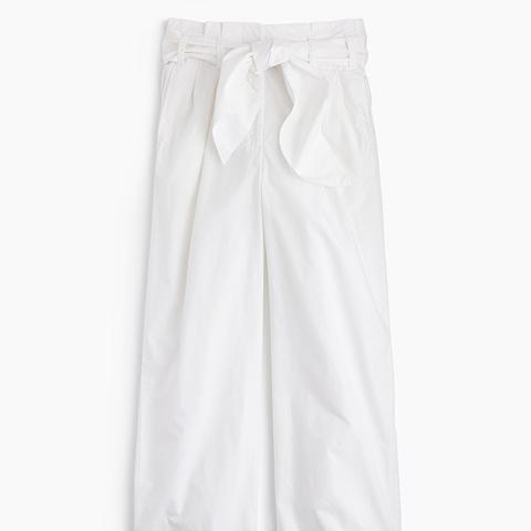 Cotton Poplin Tie-Waist Pants