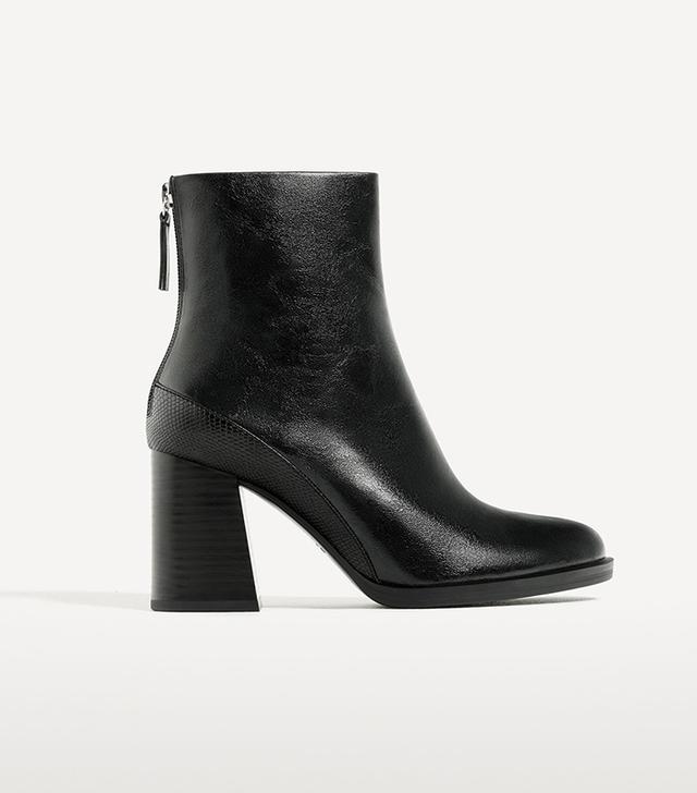 Zara Contrast High Heel Ankle Boots