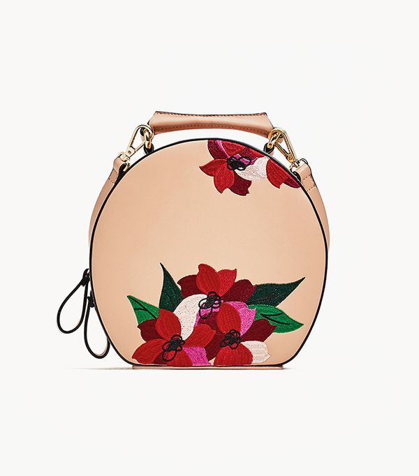 Zara Embroidered Oval City Bag