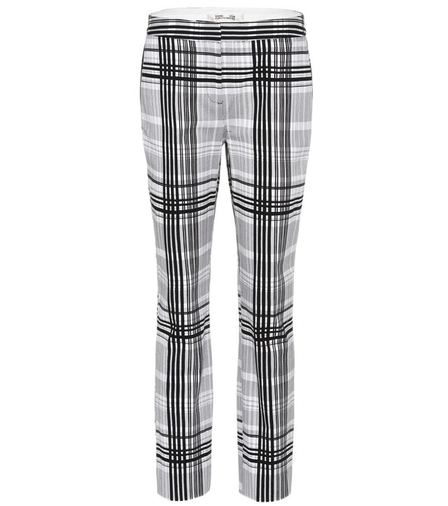 Diane von Furstenberg Darnley Plaid Cotton Trousers