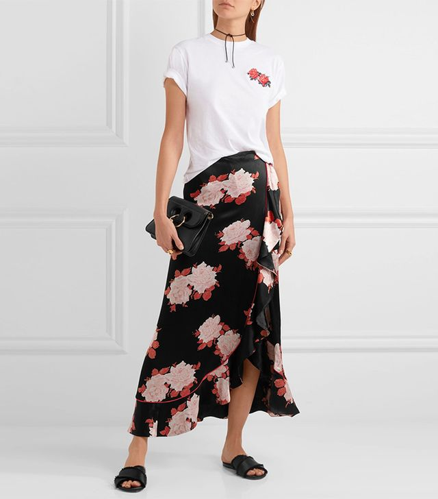 How to Take Instagram Outfit Photo Tips: Ganni Wrap-effect Floral-print Satin Maxi Skirt