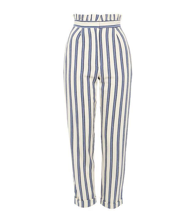 How to Take Instagram Outfit Photo Tips: Topshop Stripe Ruffle Peg Trousers