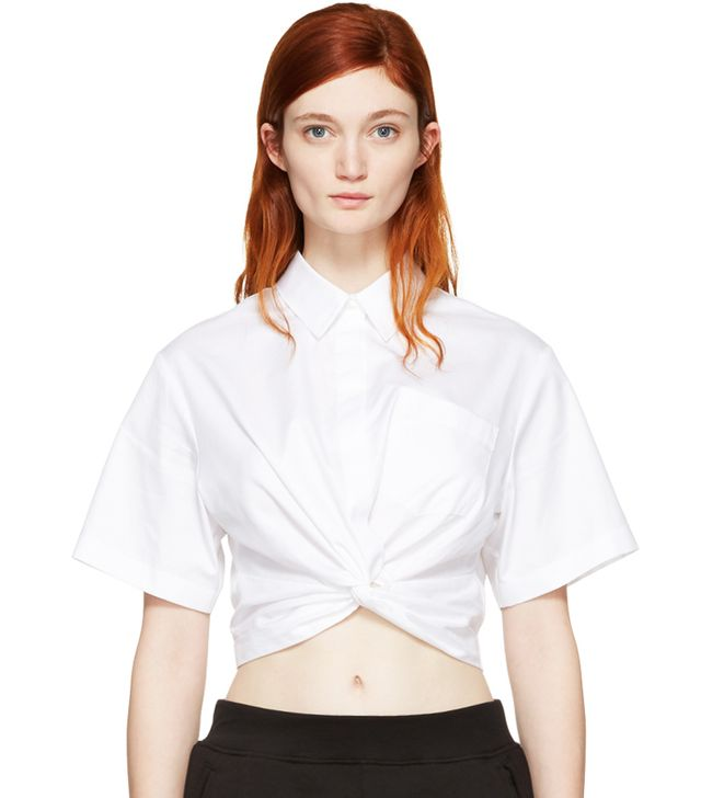 How to Take Instagram Outfit Photo Tips: Alexander Wang Short Sleeve Cropped Shirt
