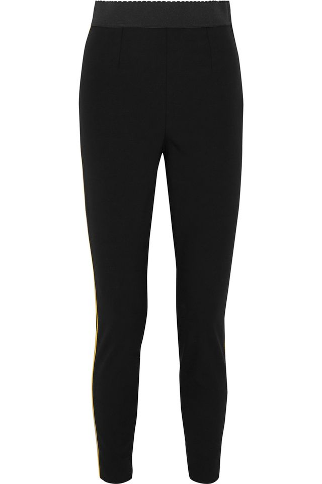 Dolce & Gabbana Satin Trimmed Stretch Wool and Silk Blend Legging
