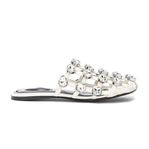 Jeweled Leather Amelia Slides