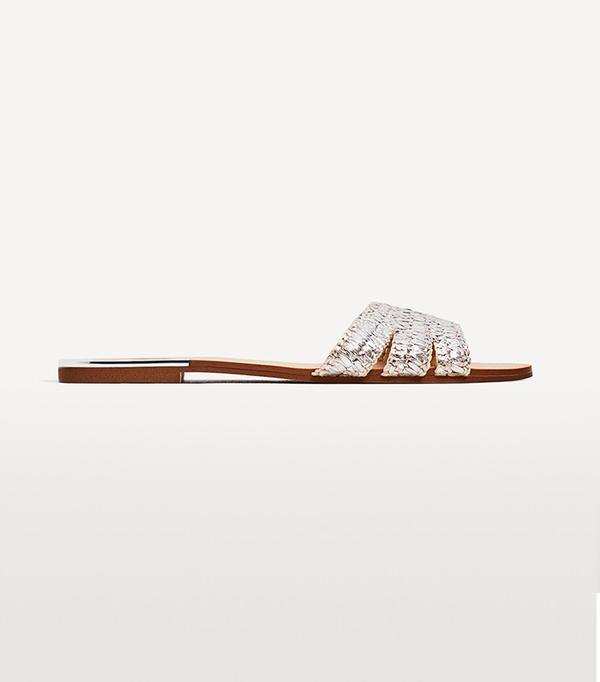 wedding trends - Zara Silver-Toned Slides