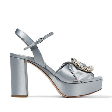 Embellished Satin Platform Sandals