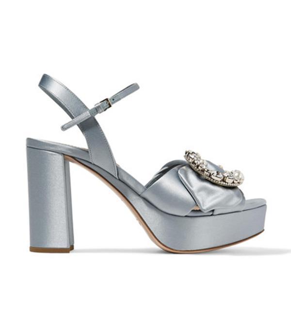 wedding trends -  Miu Miu Embellished Satin Platform Sandals