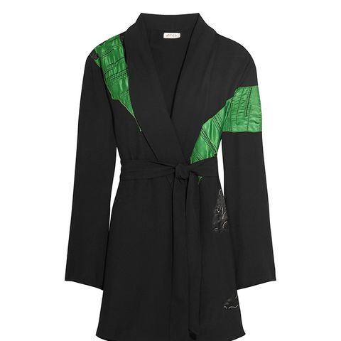 Lauren Satin-Appliqued Crepe Mini Wrap Dress