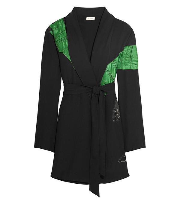Attico Lauren Satin-Appliqued Crepe Mini Wrap Dress