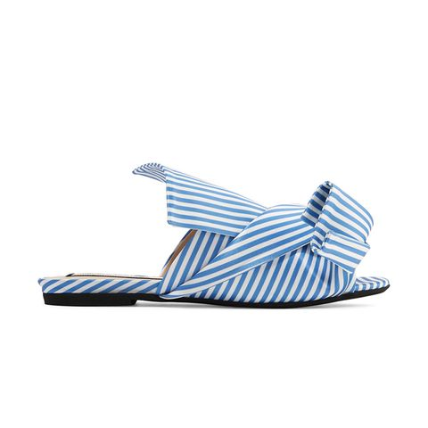 Knotted Striped Satin Sandals