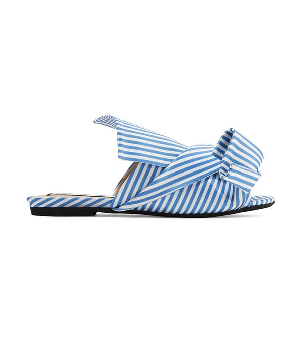 San Francisco fashion - No. 21 Knotted Striped Satin Sandals