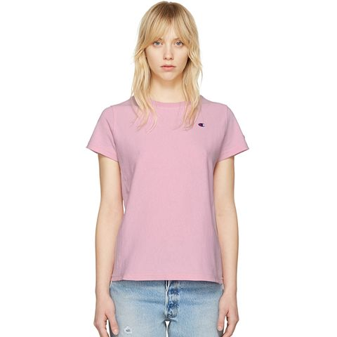 Reverse Weave Pink Small Logo T-Shirt