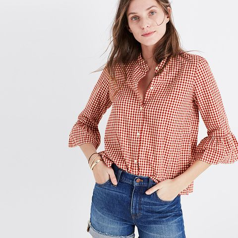Gingham Bell-Sleeve Shirt