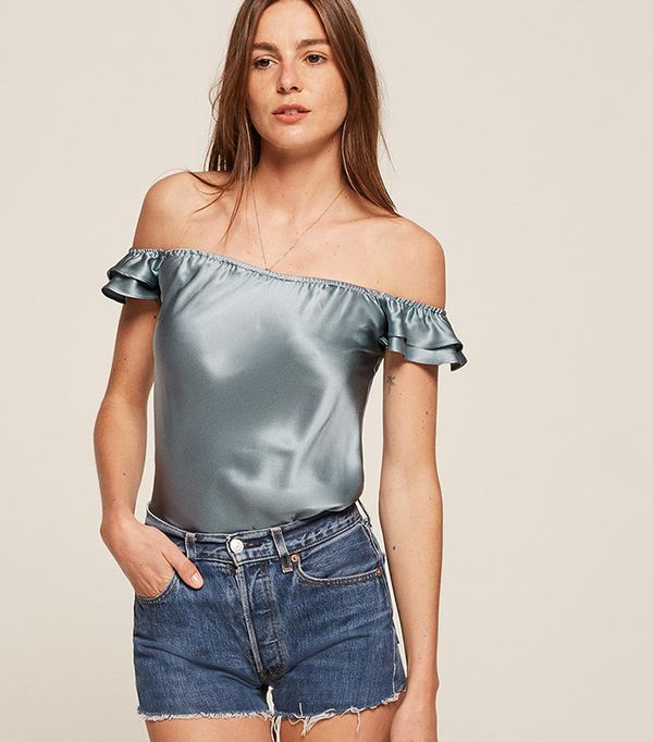 best satin ruffled top