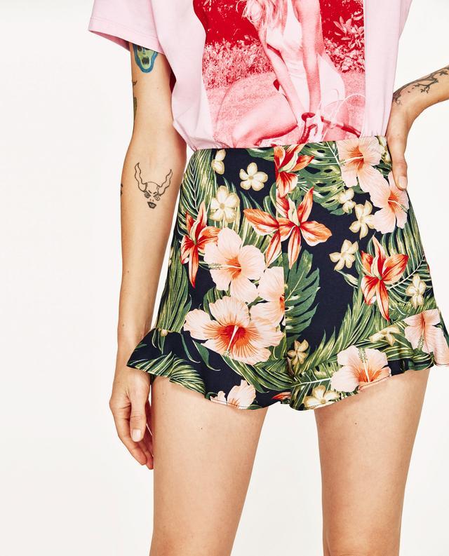 Zara Ruffled Floral Bermuda Shorts