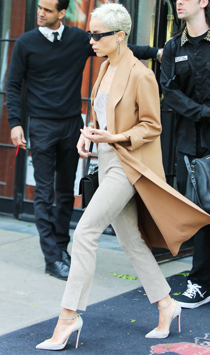 Zoe Kravitz camel coat and skinny