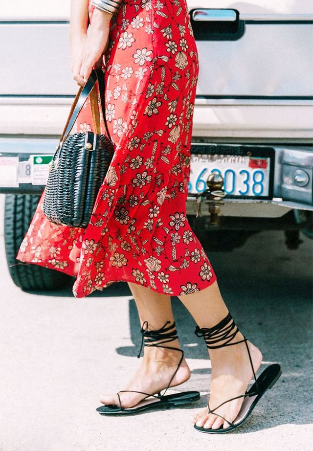 red skirt lace up sandals street style