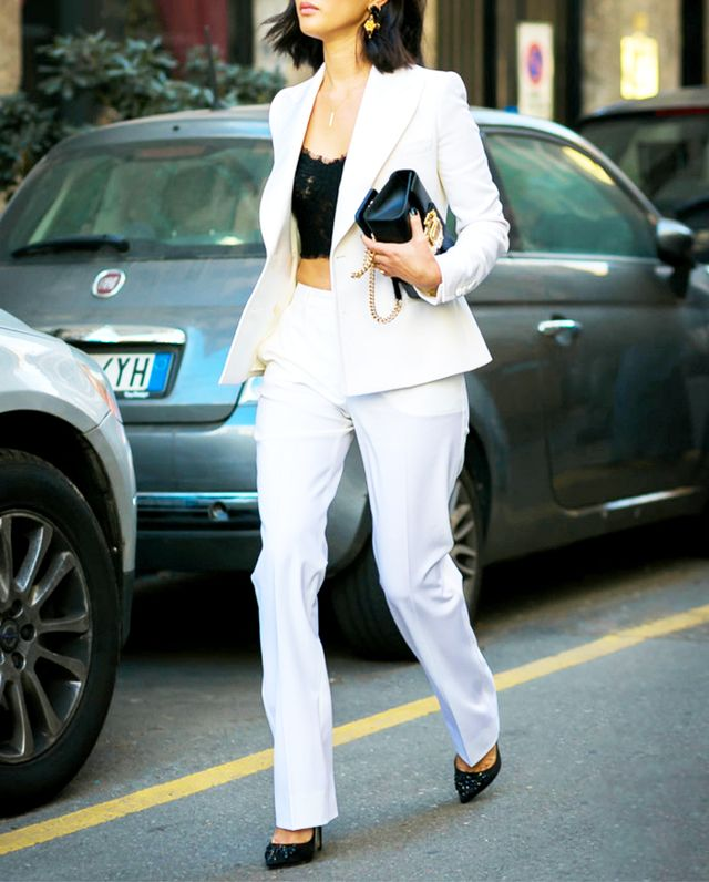 white suit and crop top street style