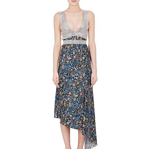 Chain-Mail & Floral Silk Dress