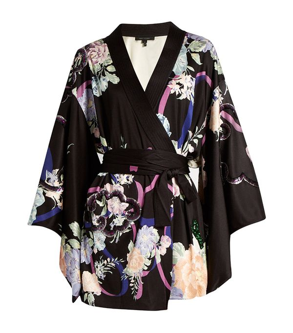 Marc Jacobs Floral-Print Sequin-Embellished Satin Wrap Dress