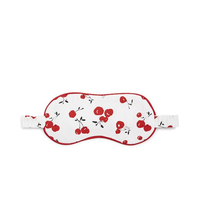 Cherry-print silk eye mask