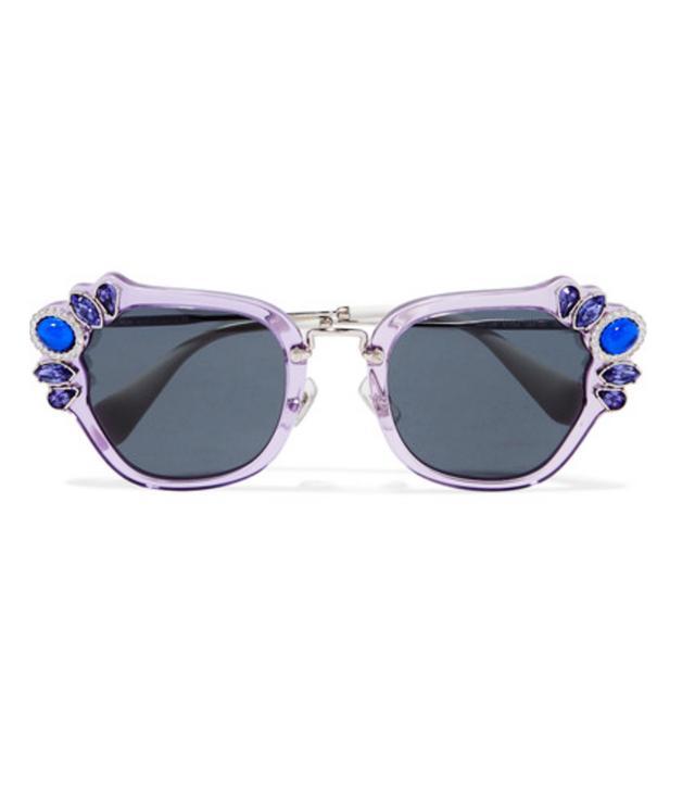 Miu Miu Crystal-Embellished Cat-Eye Acetate Sunglasses