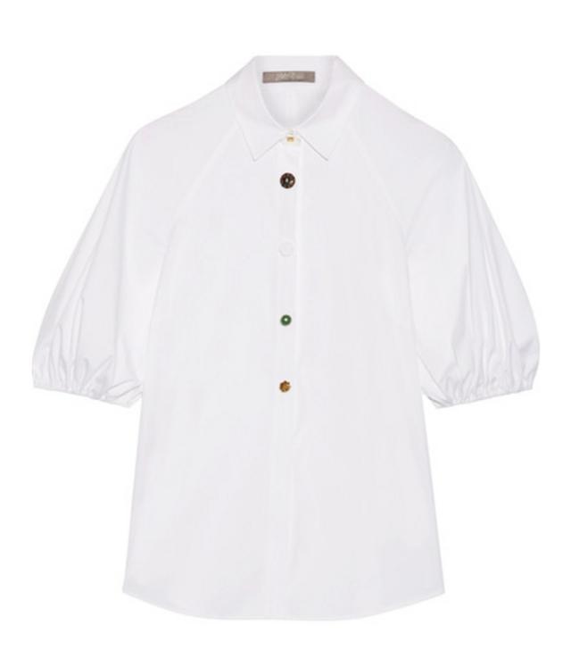 Lela Rose Stretch Cotton-Poplin Shirt